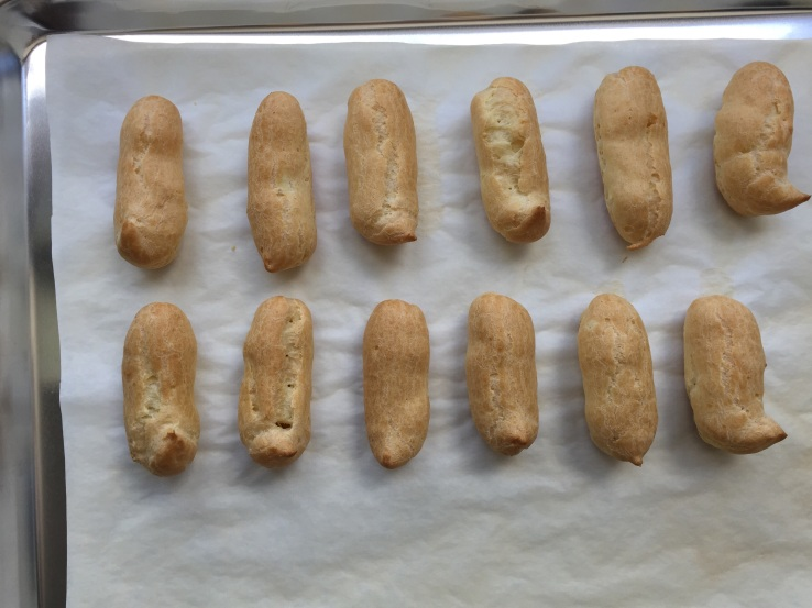 The Eclairs all baked up.